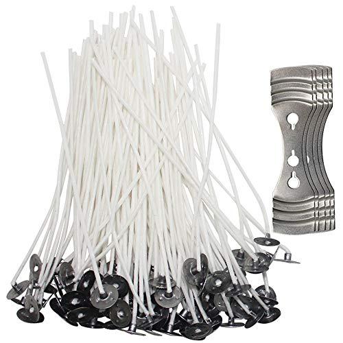 SENHAI - 200 stoppini per candele con 5 supporti di centraggio, stoppini in cotone pre-cerato da 12 cm con supporti metallici per la realizzazione di candele fai da te