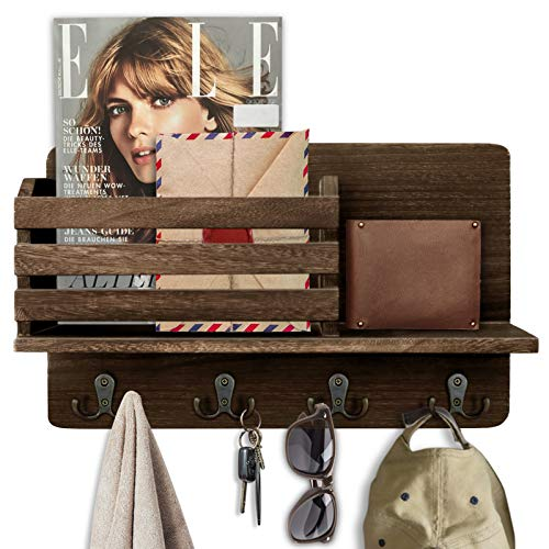 Key Holder for Wall Wooden Wall Mounted Mail Sorter Organizer with 4 Double Key Hooks & A Floating Shelf, Wall Decorative Key Rack Hangers for Entryway, Storage, Living Room, Hallway, Office (Brown)