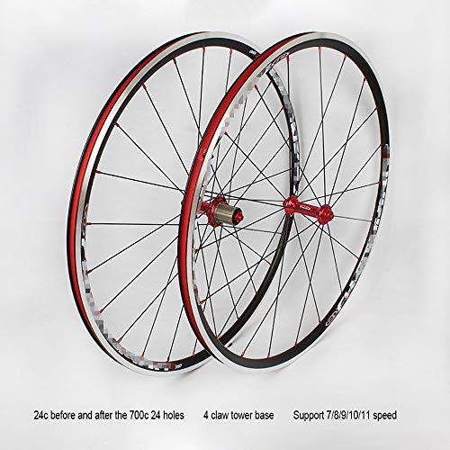 QXFJ Ruote Bici,Set Ruote Bici Set di Ruote da Strada per Biciclette Premium 700C Nuovo Set di Ruote da Strada Ad Anello Ultraleggero 120 Supporta Volano A 7/8/9/10/11 velocità