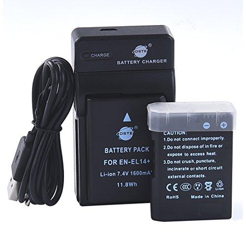 DSTE EN-EL14 Li-Ion Batteria (2-Pacco) e Caricabatterie USB per Nikon Coolpix P7000 P7100 P7700 D3100 D3200 D5100 D5200 D5300