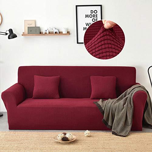 YUANOMWJ - Manta de sofá, poliéster y spandex, antisombreado, color rojo brillante, elegante y elástico, repelente al agua, para causas, sofás y seccionales