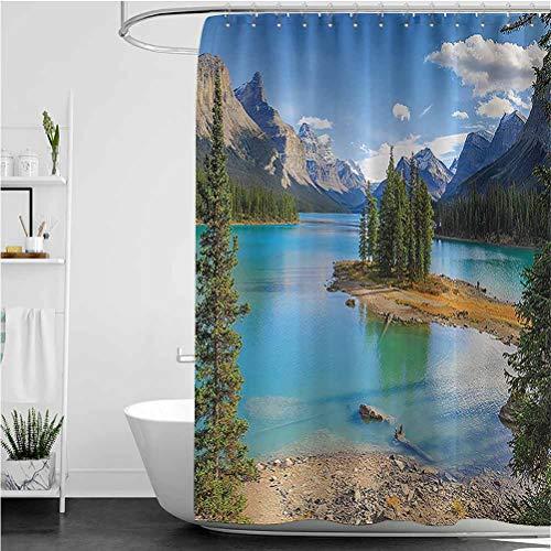 "Interestlee Lake House Shower Curtain Set, Maligne Lake in Jasper Natioanal Park Modern Home Bathroom Curtain, Canada Summer Day Outdoor Picture, 108"" x 72"""