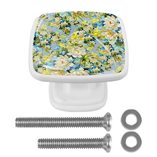 [4 unidades] Tirador de puerta de armario de cristal colorido con diseño de flores pintadas a mano, color azul y amarillo
