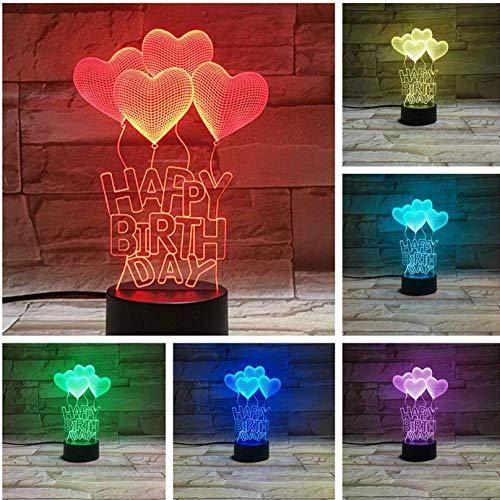 3D Night Light Love Heart Balloon 3D LED Lampe Chevet gece lambasiRGB Garçon Enfant Enfants Bébé Cadeaux D'anniversaire USB 3D LED Night Light