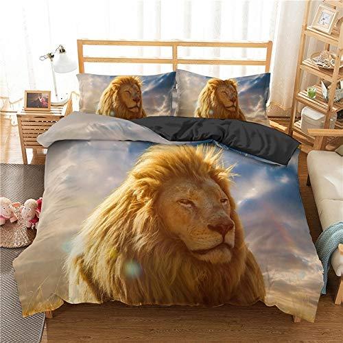 Mdsfe 3D Lion King Bedding Sets with Pillowcases Bed Linens set Comforter Bedding Sets Quilt/Duvet Cover Set 2/3 pcs - CD293-4, duvet cover, AU Single 140x210cm