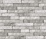 Brewster BHF3049 Grey Stone Peel & Stick Backsplash Tiles, Gray