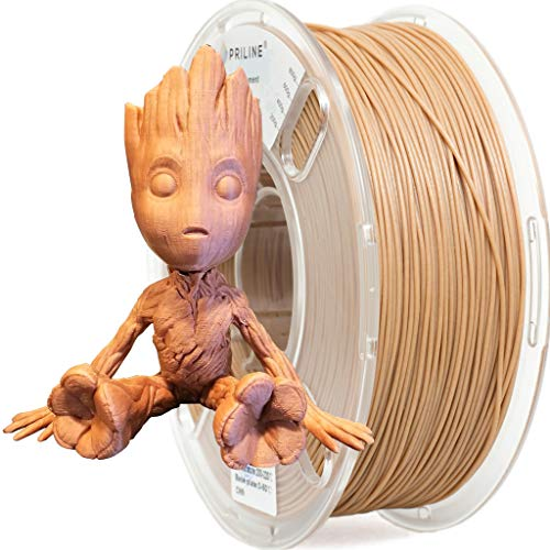 PRILINE 1kg Light Wood Filament 1.75 3D Printer Filament(the Layer Should be Thicker than 0.2mm and The Nozzle Should be Bigger than 0.4mm)