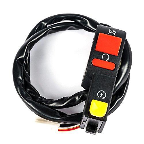 Nawenson - Guidon de moto noir - Démarreur électrique 2,2 cm - Allumage - Bouton de démarrage- Phare - Interrupteur marche/arrêt - Contrôle pour moto