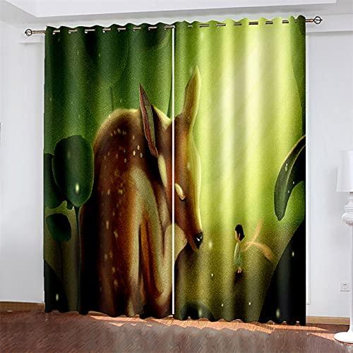 Adecuado para Cortinas De Impresión Digital 3D De Dormitorio Y Sala De Estar, Cortinas Opacas, Cortinas De Poliéster con Patrón De Ciervo (Total Width) 280x(Height) 290cm