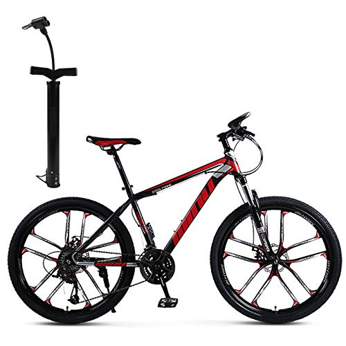 CXQ 26 Inch Adult Mountain Bike,Off-Road Speed Bike,30 Speed Men and Women Speed Integral Wheel Bicycle Double Shock Racing for Outdoor Riding to and from Get Off Work,Black red