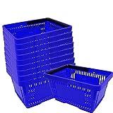 10 Einkaufskörbe aus Kunststoff Plastik mit Henkel 20 Liter 40cm stapelbar blau