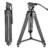 Neewer Professional 155cm Trípode de Cámara Video de Aleación de Aluminio con Cabeza de Arrastre de Fluido de 360 Grados, Placa de Liberación Rápida de 1/4' y 3/8' y Nivel de Burbuja, Carga hasta 6kg