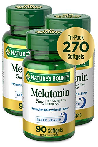 Melatonin by Nature#039s Bounty 100% Drug Free Sleep Aid Dietary Supplement Promotes Relaxation and Sleep Health 5mg 90 Softgels Pack of 3