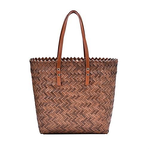 JSJJAKM Strandtaschen für Damen, gewebte Strandtasche aus Stroh, mit Aussparungen, gewebte Unterarm-Schultertaschen, Reisetaschen, einfache Einkaufstasche (Farbe: Braun)