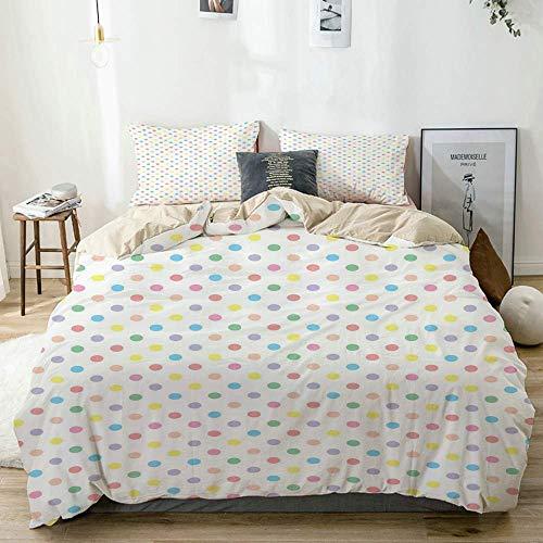 Set copripiumino Beige, macchie di colore pastello disposte in modo uniforme Femminile Vintage Baby Shower Concept, Set di biancheria da letto decorativo 3 pezzi con 2 fodere per cuscini Easy Care Ant