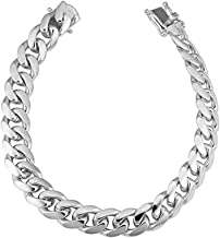 Verona Jewelers Mens Sterling Silver Solid Miami Cuban Link Chain Bracelet 6.5MM -14.5MM- 925 Sterling Silver Curb Cuban Bracelet for Men, Silver Cuban Link Chain, Mens Heavy Silver Bracelet