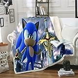 WFQTT Sonic - Manta de franela para niños, diseño de dibujos animados, suave y gruesa, para sofá o oficina, para adultos (1,60 x 50 cm)