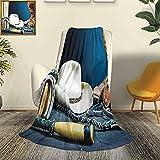 Western Decor Car Camping Manta Manta Mantón Telón de Fondo Ecuestre con Sombrero de Herradura Antiguo Cowboy Texas Style Four Seasons Light Sala de Estar / Dormitorio Manta cálida W60 x L5