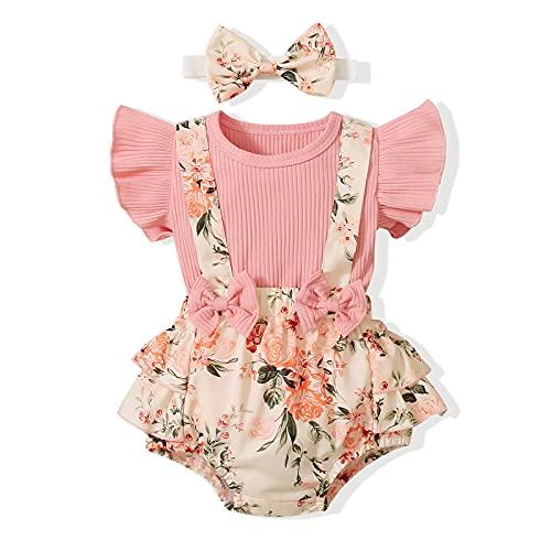 FYMNSI Conjunto de verano para bebé recién nacido, niña, manga corta, camiseta + tirantes de flores + cinta con lazo, 3 piezas, para 0 – 18 meses Flores rosas. 6-12 Meses