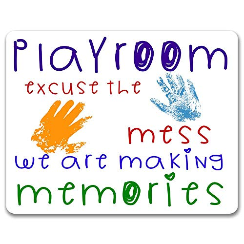 Weiwei Playroom - Excuse The Mess We are Making Memories PlayroomTin Sign Rustic Shabby Retro Style Retro Kitchen Bar Pub Coffee Shop Men Cave Garage Decoration Gift 8x12 Inches