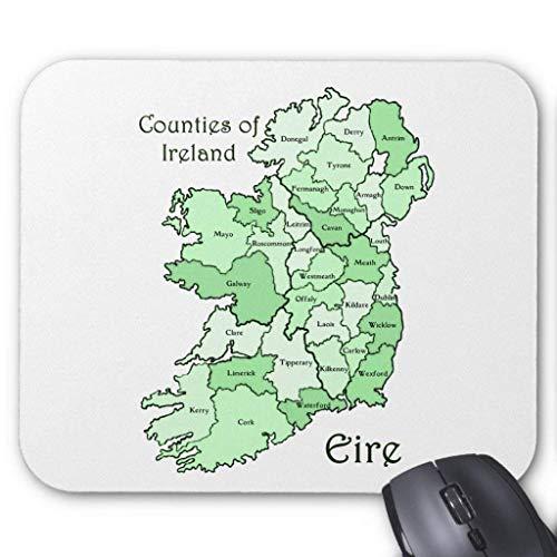 Muismat, Gaming Mouse Pad Grote Grootte 300x250x3mm Dikke provincies van Ierland Kaart Verlengde Muis Pad Antislip Rubber