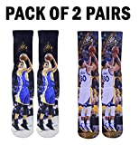 Forever Fanatics Golden State Steph Curry #30 Basketball Crew Socks ✓ Pack of 2 - Home & Away ✓ Perfect Gift ✓Stephen Curry Autographed ✓ One Size Fits All Sizes 6-13 (Size 6-13, Curry #30 Pack of 2)