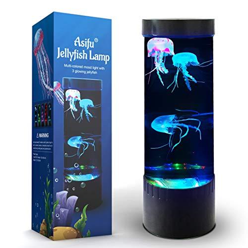 Jellyfish Lava Lamp LED Fantasy 20 Farbwechselndes Nachtlicht mit 3 Quallen Electric Mood Light Dekoration für Home Office Geschenk für Männer Frauen Kinder