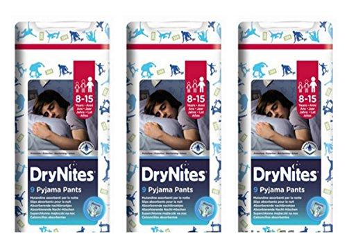 3 X Pannolini mutandina Huggies DryNites Jumbo Boy Pannolino Dry Nites 8-15