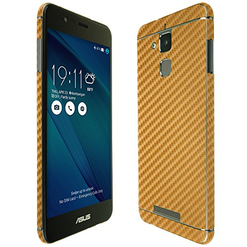 Skinomi Gold Carbon Fiber Full Body Skin Compatible with Asus Zenfone Pegasus 3 (Full Coverage) TechSkin with Anti-Bubble Clear Film Screen Protector