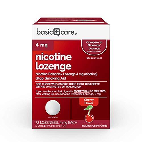 Amazon Basic Care Nicotine Lozenge, Nicotine Polacrilex Lozenge 4 mg (nicotine), Cherry Flavor, Stop Smoking Aid, 72 Count