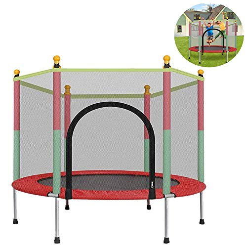 CTEGOOD Trampolin 140 cm mit Netz Outdoor Gartentrampolin mit Sicherheitsnetz Bis 200kg für Sport Loslassen Energie, Aerobic