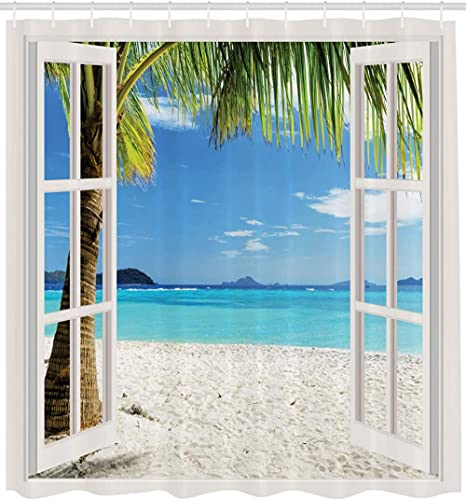 Turquoise Shower Curtain, Tropical Palm Trees on Island Ocean Beach Through White Wooden Windows, 72' Long, Blue Green and White