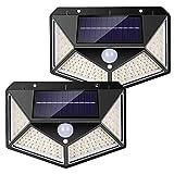 nuosife Solares para Exteriores, Apliques de Exterior, Luz Solar Exterior, 3 Modos de Trabajo, Iluminación de 270 °, Inalámbricas, IP65 Impermeables, 100 LED, 2 pcs - Jardín, Terraza ect.