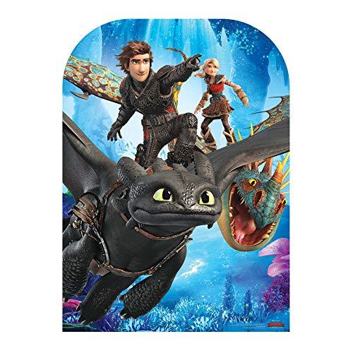 Star Cutouts SC1301 Kindergröße Party Train Your Dragon 3 Aufstellbarer Zahnloser Hickcup Sturmfly, Astrid, Höhe 130 cm, Breite 96 cm, mehrfarbig
