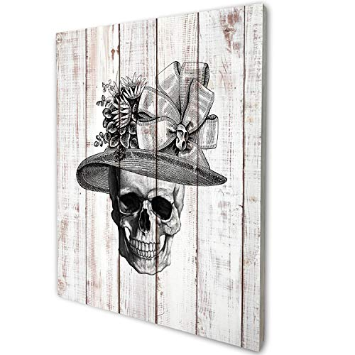 """akeke Anatomy Skull Lady Vintage Rustic Farmhouse Wood Wall Art Decor, Unique Steampunk Anatomy Home Studio Decor for Dr Office, Gift for Doctor, Physician, Nurse,Friend, Student, 8""""x10"""""""