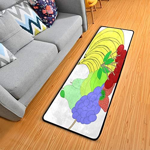 Area Rug Best Cartoon Fruit 2' x 6' Runner Rug Pad Hallway Entry Long Carpet Washable Anti Fatigue Comfort Floor Mat Indoor Outdoor Cushioned Door Mats for Sofa Kitchen Non Slip