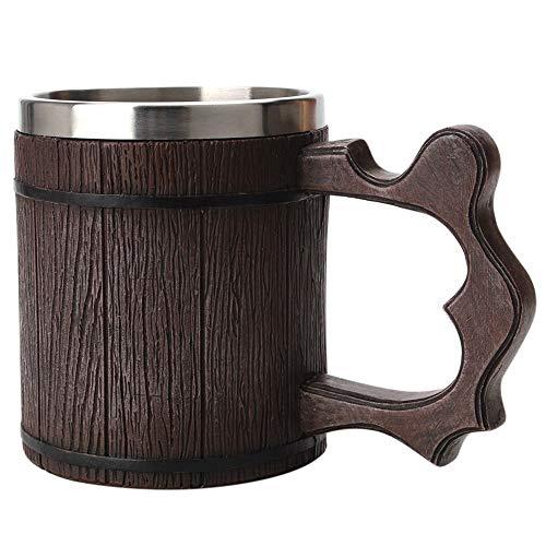 NBSXR Jarra de Cerveza de Acero Inoxidable de Madera de Roble, Hecha a Mano, ecológica Natural y Retro, Excelentes Ideas de Regalo Jarra de Cerveza de Madera para Hombres, 0.45L, marrón