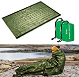 ACVCY Emergency Sleeping Bag, 2PCS Lightweight Emergency Bivy Sack Survival Compact Survival Sleeping Bag Waterproof Thermal Emergency Blanket Multi-use Survival Gear for Outdoor Hiking Camping Green