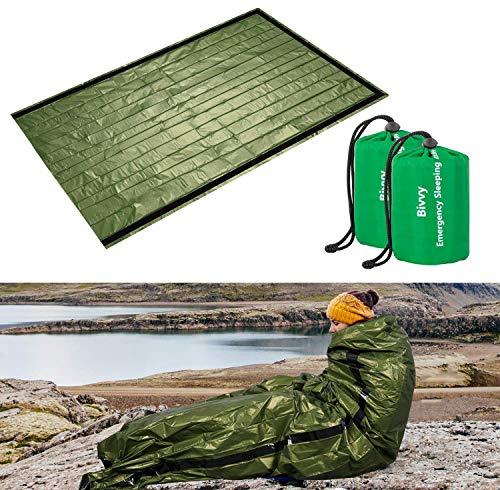 ACVCY Emergency Sleeping Bag, 2PCS LightweightEmergency Bivy Sack Survival Compact Survival Sleeping Bag WaterproofThermal Emergency Blanket Multi-use Survival Gear for Outdoor Hiking CampingGreen