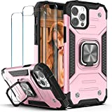 YmhxcY iPhone 12 Case, iPhone 12 Pro Case with Tempered Glass Screen Protector [2 Pack],Armor Grade Case with Rotating Holder Kickstand Non-Slip Hybrid Rugged Case for iPhone 12 6.1'-KJ Rose Gold