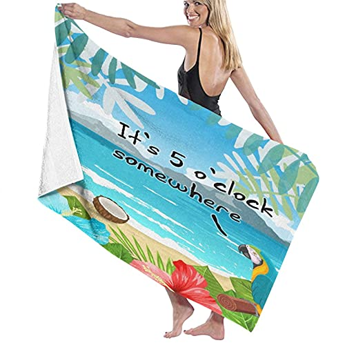 SUDISSKM Sand Towel,Bath Towel,Flamingo Parrot It's 5 O'clock Somewhere Tropical Flowers Palm,Quick-Drying,high-Absorption,Lightweight and Thin Soft Bath Towel,Swimming Bath,Camping,Fitness Exercise