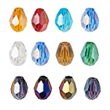 PandaHall 50 cuentas de cristal de lágrima de cristal de 7 a 8 x 6 mm, cuentas de cristal facetado biicona, chapado en color AB para joyería, manualidades