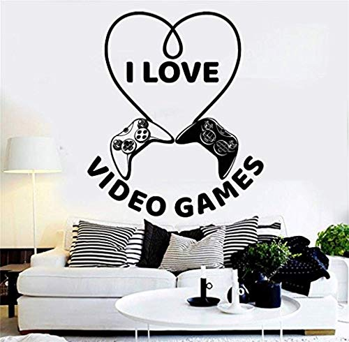 Vinyl Wall Decals Home Decor - Quote Nursery Saying Lettering Inspirational I Love Video Games Joy Gamer with Heart Type and Gaming Controllers Play Room - Home Art Vinyl Decor BR9264