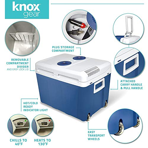 Knox Electric Cooler and Warmer for Car and Home with Wheels - 48 Quart (45 Liter) Holds 60 Cans or 6 Two Liter Bottles and 15 Cans - Dual 110V AC House and 12V DC Vehicle Plugs