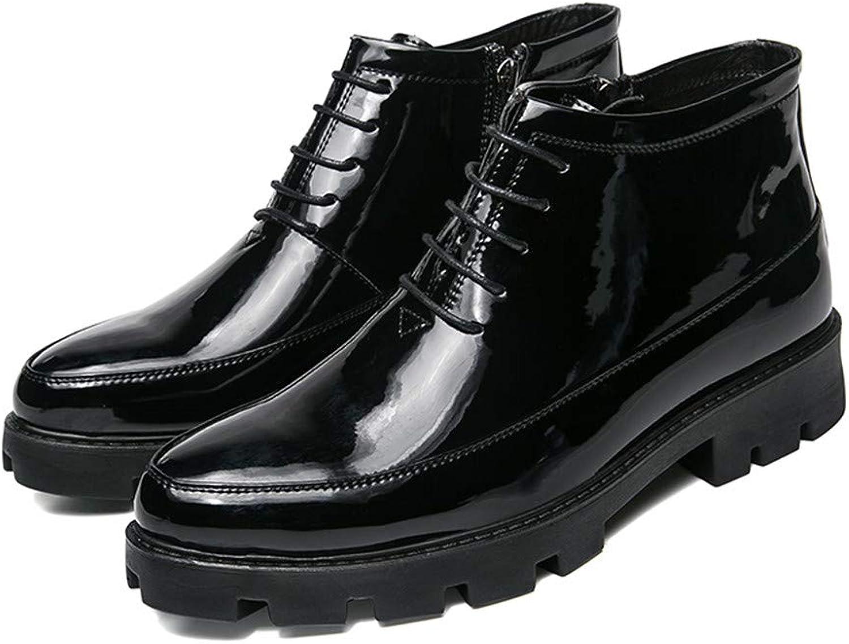 Ta hundben Man's Ankle stövlar Lace Up Chunky Heel Heel Heel PU läder Side Zipper skor  detaljhandel