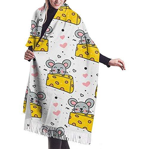 Doodle Muizen en kaas deken sjaal winter dikke reis warm wikkelen sjaal sjaal kerstcadeau voor moeder vriendin zus