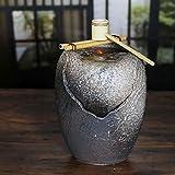 信楽焼 つくばい泉 湧き水つくばい 電動つくばい つくばい 陶器かけひ 蹲 循環式つくばい ウォーターオブジェ dt-0039