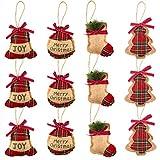 LUTER 12 Piezas de Adornos de árbol de Navidad Rústicos de Arpillera Media Bola Campana Decoración Colgante para Suministros de Fiesta de Navidad (4 Estilos)