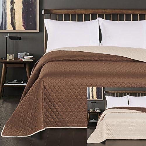 DecoKing 29695Couvre-lit Double Face en Polyester, Crème Marron crème, Polyester, Creme Braun, 170 x 210 cm