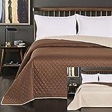 DecoKing Tagesdecke 260 x 280 cm Creme braun Schoko Schokolade Bettüberwurf zweiseitig leicht zu pflegen Axel